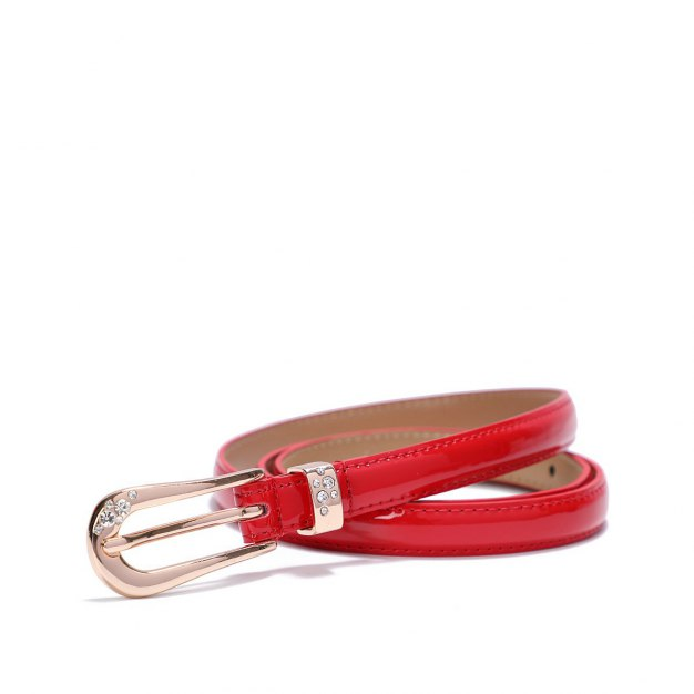 Red Glossy Two Plies Cowhide Belt