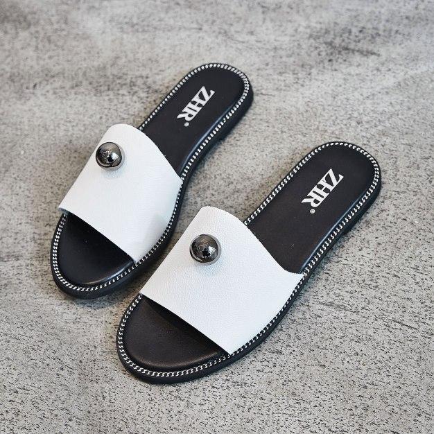 White Flat Anti Skidding Women's Sandals