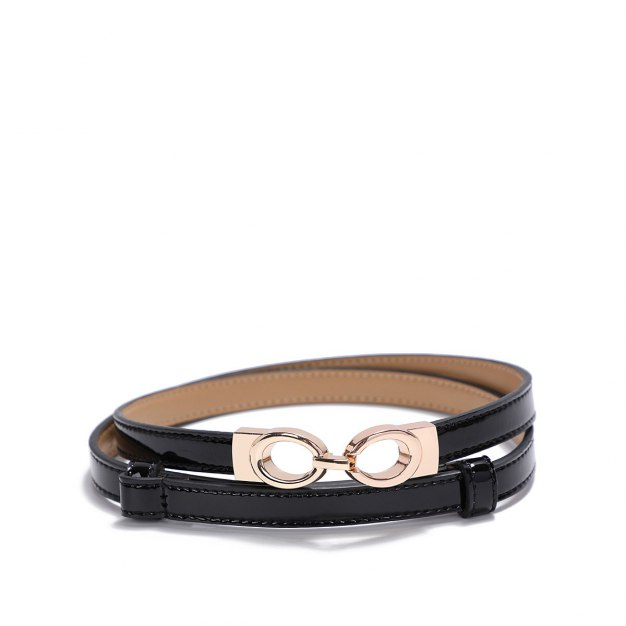 Black Patent Leather Two Plies Cowhide Belt