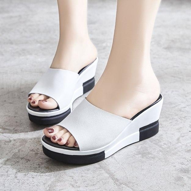 White Wedges Portable Women's Sandals