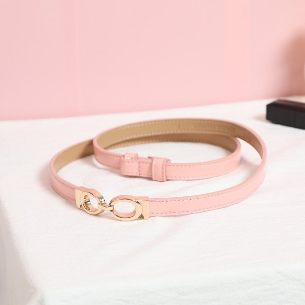 Pink Patent Leather Two Plies Cowhide Belt