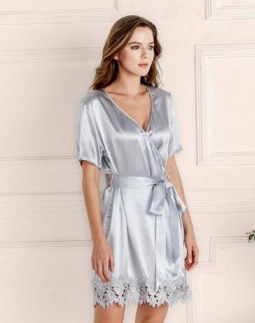 Gray Polyester Thin Women's Night-Robe
