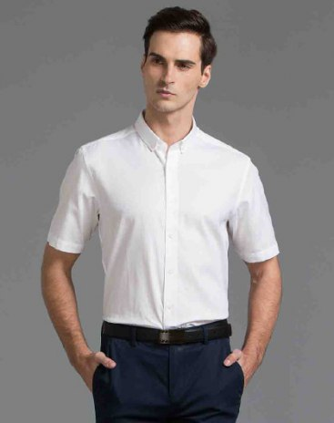 Plain Belt Collar Short Sleeve Standard Men's Shirt
