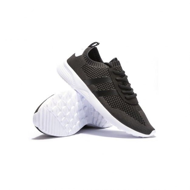 Black Polyester Men's Casual Shoes