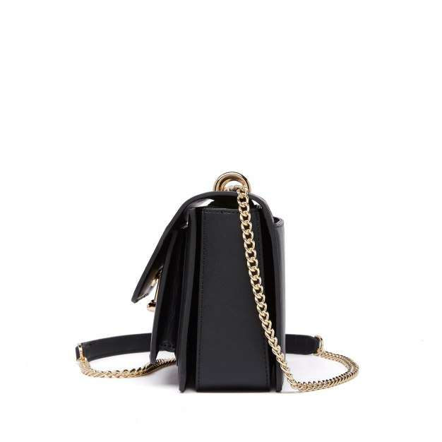 Black Stripes Cowhide Leather Small Women's Crossbody Bag