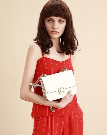 White Plain Cowhide Leather Kelly Bag Medium Women's Crossbody Bag