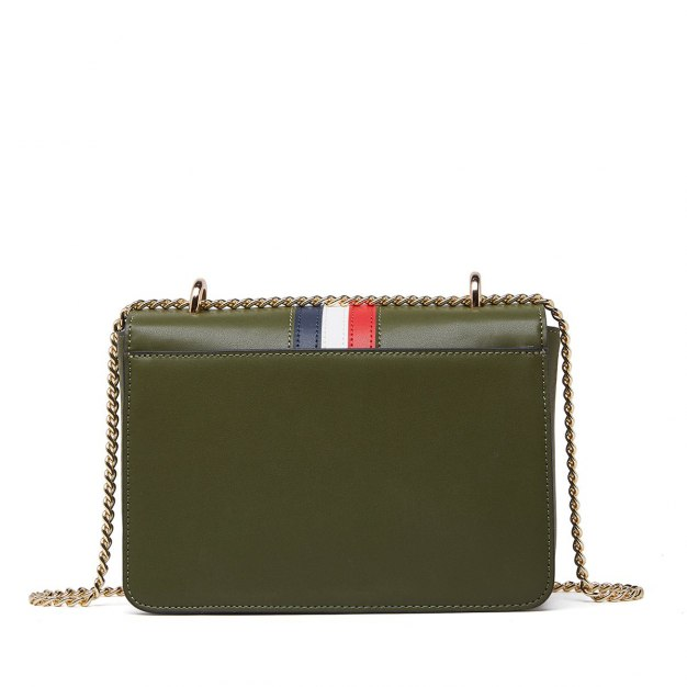 Green Stripes Cowhide Leather Small Women's Crossbody Bag