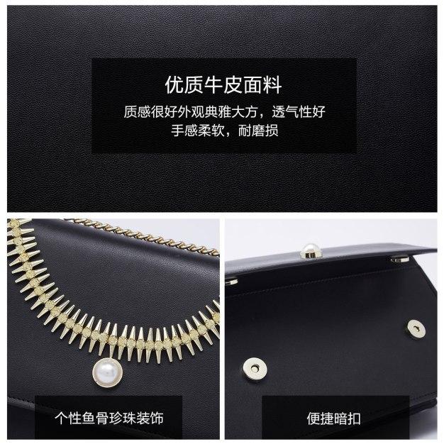 Black Plain Cowhide Leather Small Women's Crossbody Bag