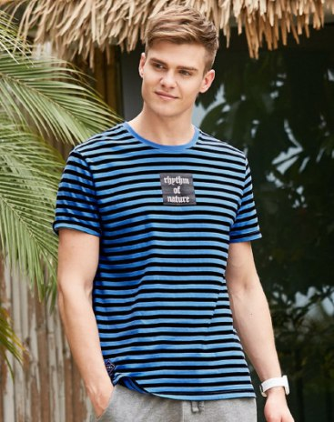 Blue Round Neck Short Sleeve Fitted Men's T-Shirt