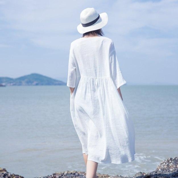White Round Neck Half Sleeve Long Standard Women's Dress