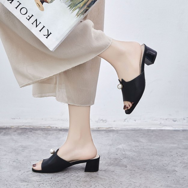 Black Middle Heel Wear-Resistant Women's Sandals