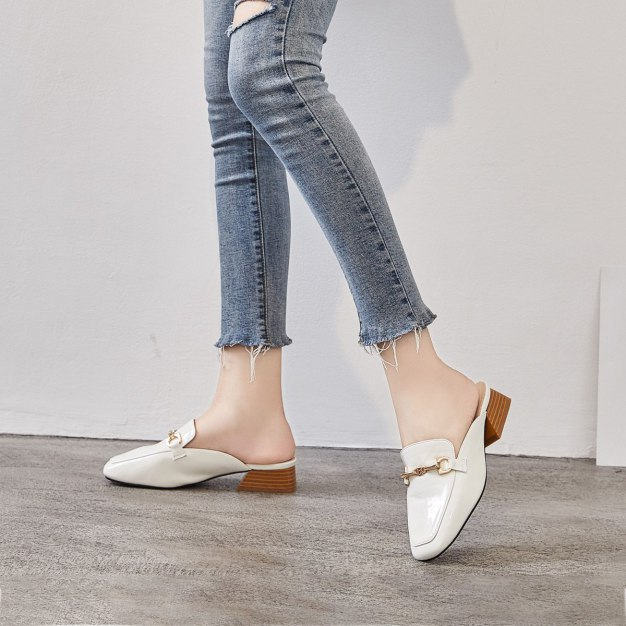 White Square Toe Middle Heel Wear-Resistant Women's Sandals