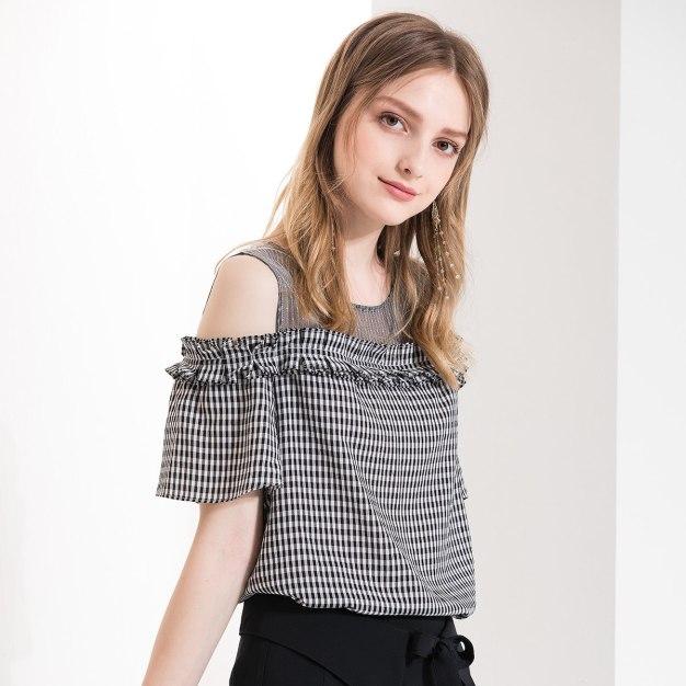 Black Round Neck Elastic Short Sleeve Loose Women's Shirt