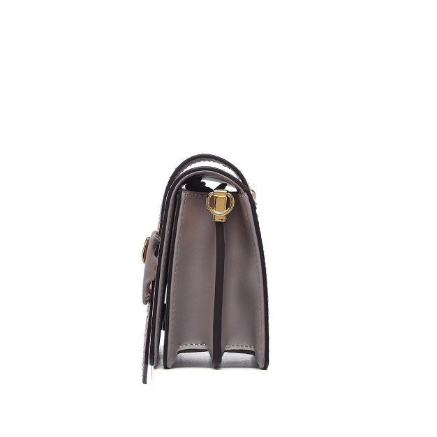 Gray Cowhide Leather Organ Bag Small Women's Crossbody Bag