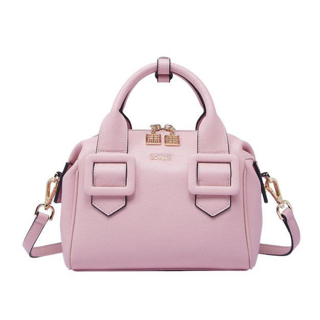 Pink Plain Cowhide Leather BostonBag Small Women's Tote