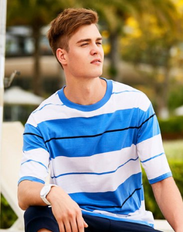 Stripes Round Neck Short Sleeve Loose Men's T-Shirt