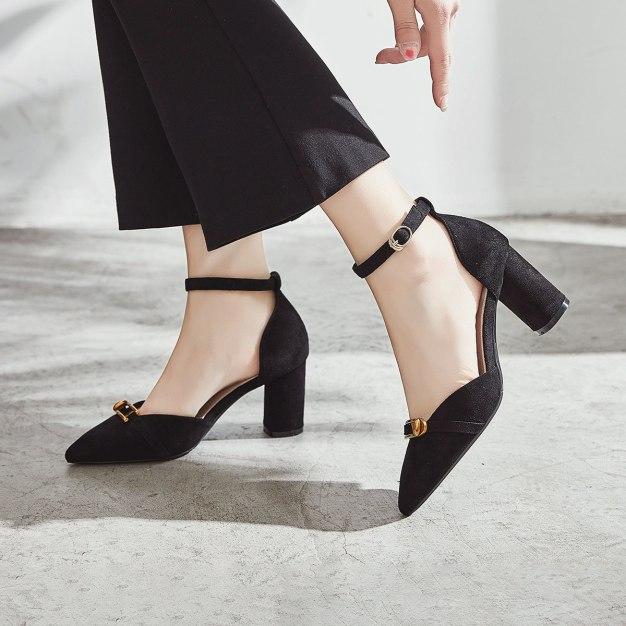 Black Pointed High Heel Wear-Resistant Women's Sandals