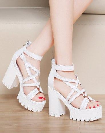 White Top High Heel Wear-Resistant Women's Sandals