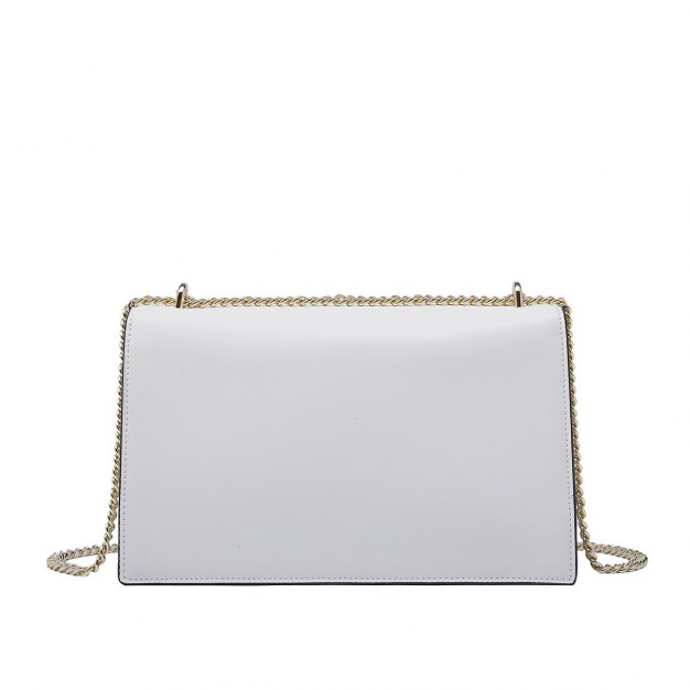 White Plain Cowhide Leather Small Women's Crossbody Bag