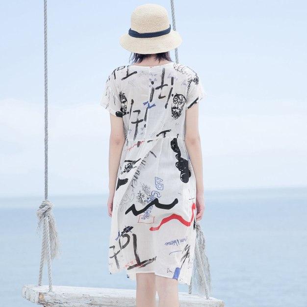 White Round Neck Short Sleeve 3/4 Length Loose Women's Dress
