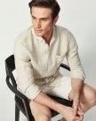 Plain Belt Collar Long Sleeve Standard Men's Shirt