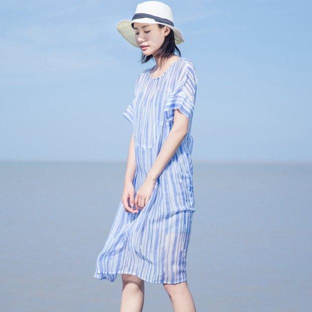 Blue Round Neck Short Sleeve Long Loose Women's Dress