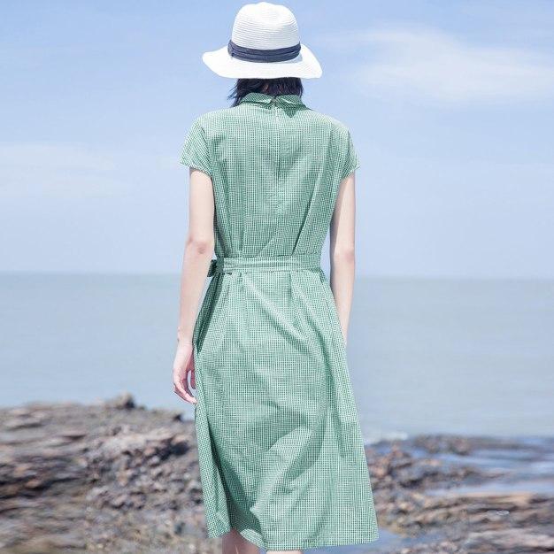 Green Shirt Collar Short Sleeve 3/4 Length Loose Women's Dress