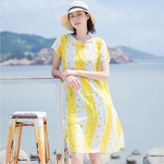Yellow Round Neck Short Sleeve Long Loose Women's Dress
