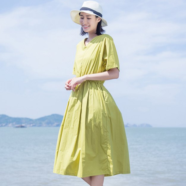 Yellow V Neck Short Sleeve Long Fitted Women's Dress