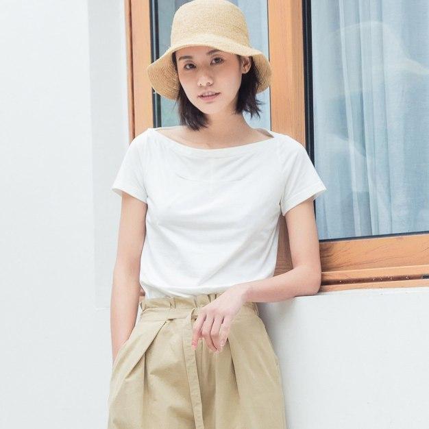 White Plain Off Neckline Short Sleeve Fitted Women's T-Shirt