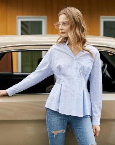 Blue Stripes V Neck Long Sleeve Standard Women's Shirt