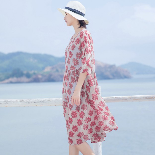 Red Round Neck Half Sleeve 3/4 Length Loose Women's Dress