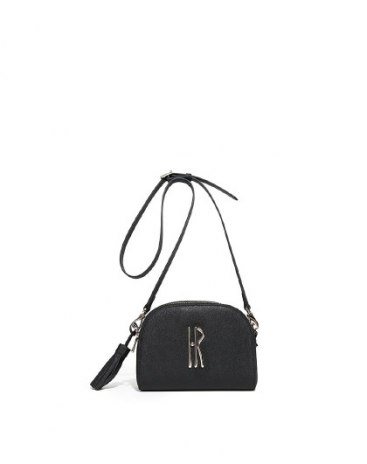 Black Plain Cowhide Leather Mini Women's Crossbody Bag