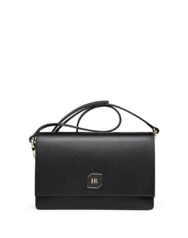 Black Plain Cowhide Leather Messenger Bag Small Women's Crossbody Bag