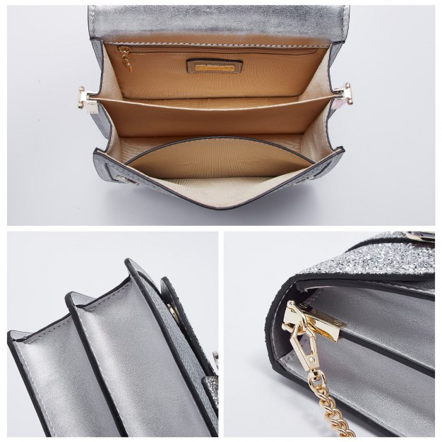 Silver Plain Cowhide Leather Small Women's Crossbody Bag