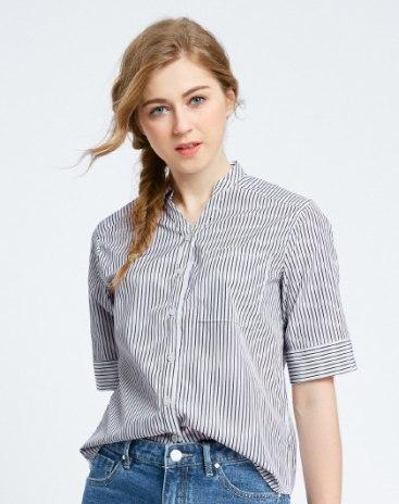 White Stripes Stand Collar Standard Women's Shirt