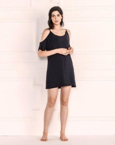 Black Modal Thin Women's Sleepwear
