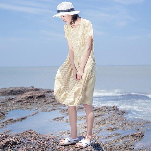 Yellow Round Neck 3/4 Length Loose Women's Dress