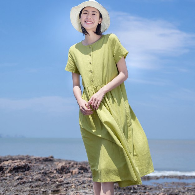 Yellow Round Neck Long Fitted Women's Dress