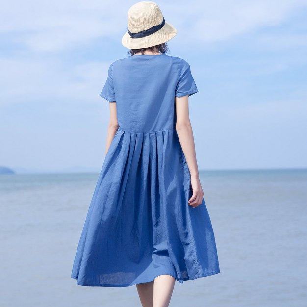 Blue Round Neck Long Fitted Women's Dress