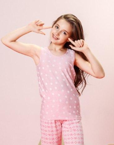 Pink Sleeveless Standard One-Piece Girls' Cami