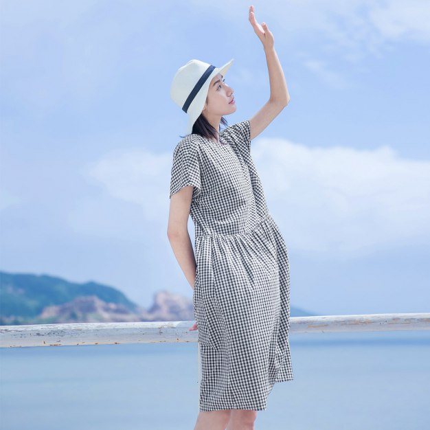 Blue Round Neck 3/4 Length Loose Women's Dress