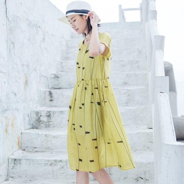 Yellow Round Neck Short Sleeve 3/4 Length Women's Dress