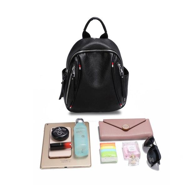 Black PU Big Plain Women's Backpack