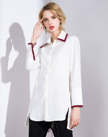 White Plain Shirt Collar  Long Sleeve Standard Women's Shirt