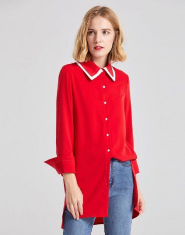 Red Plain Shirt Collar  Long Sleeve Standard Women's Shirt