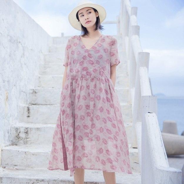 Colourful V Neck Short Sleeve Long Loose Women's Dress