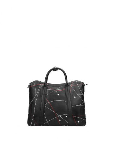 Black Abstract Motifs Cowhide Leather Big Men's Business Case