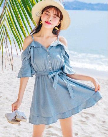 Blue V Neck Sleeve High Waist Peplum Loose Women's Dress