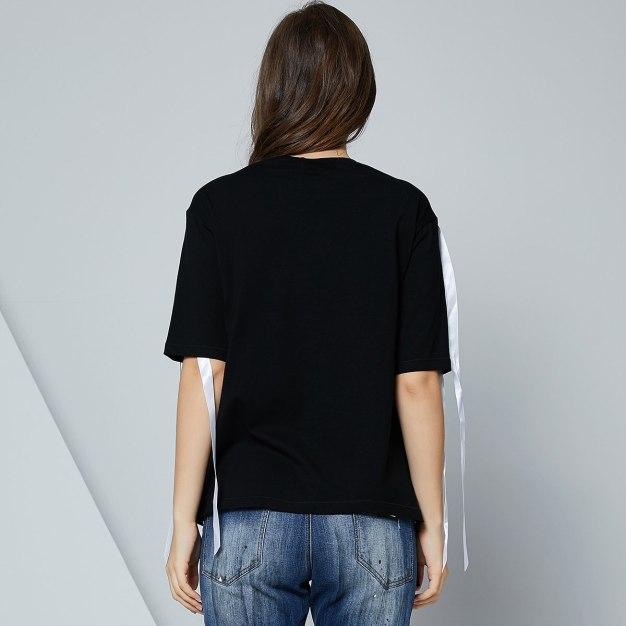 블랙 해와 달과 별 반팔 표준 여성 티셔츠